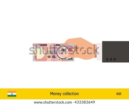 Human hand gives money vector illustration. Indian rupee banknote. - stock vector