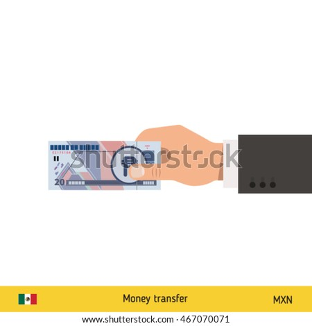 Human hand gives money vector illustration. Mexican peso banknote.