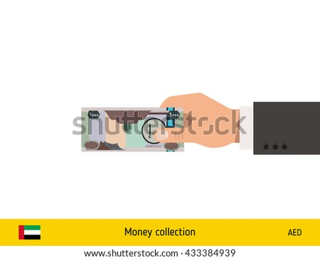 Human hand gives money vector illustration. United Arab Emirates dirhams banknote. - stock vector