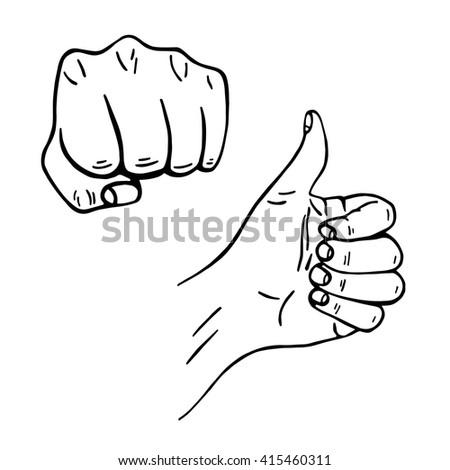 human hand. hand gestures. vector illustration - stock vector