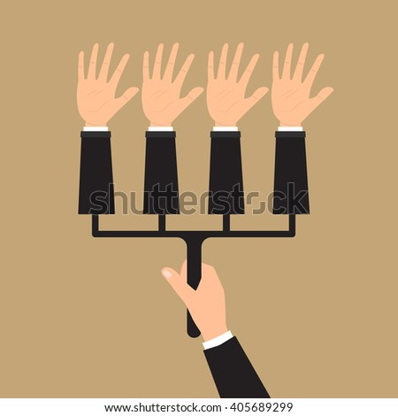 Human hand hold multiple hands for voting. Vector illustration elections votes fraud concept design. - stock vector