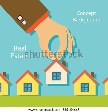 Human hand holding a house. Real estate. Property For Sale. Stock vector illustration. - stock vector