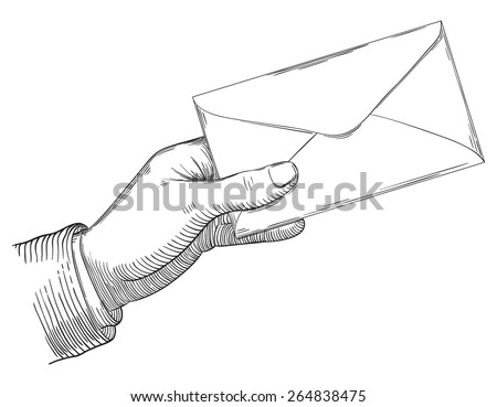 Human hand holding a letter. Vector background at retro engraving style. - stock vector