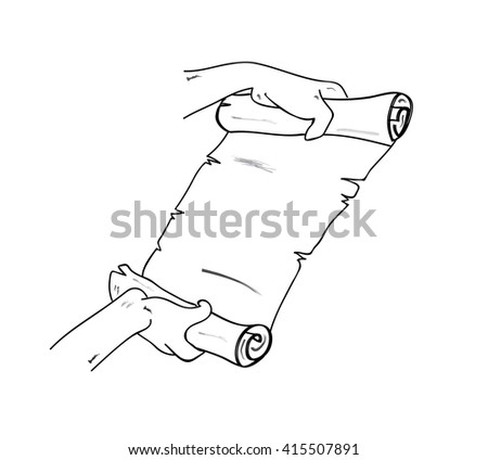 Human hand holding a scroll of paper. Vector illustration. Isolated on white background.