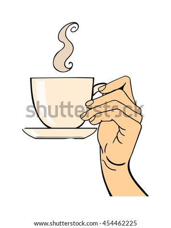 Human hand holding coffe cup pose signal human fingers