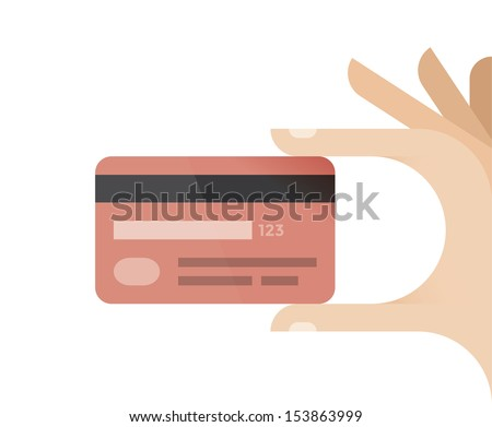 Human hand holding credit card. Idea - Mobile payment, Online shopping, Omnichannel etc. - stock vector