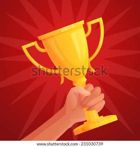 Human hand holding golden winner cup trophy competition success concept vector illustration - stock vector