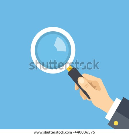 Human hand holding magnifying glass. Analysis, exploration, zoom, scrutiny, audit, inspection concepts. Flat design graphic elements. Vector illustration isolated on blue background - stock vector