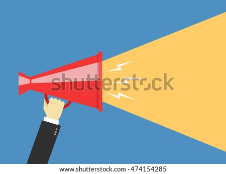 Human hand holding megaphone. Social media marketing concept.