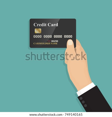 Human hand holding with credit card in a flat design ,isolate on blue background ,vector design Element illustration