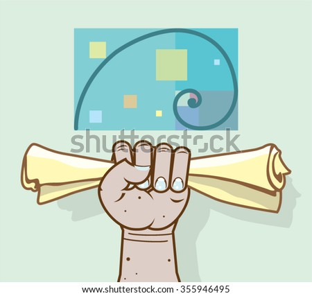 Human hand holds a paper roll secret article - stock vector