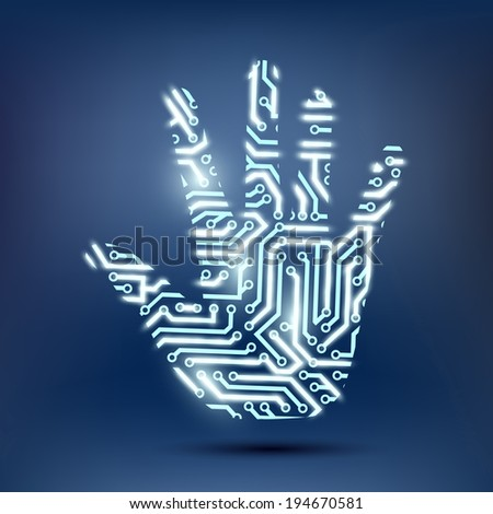 human hand in the form of a computer chip - stock vector