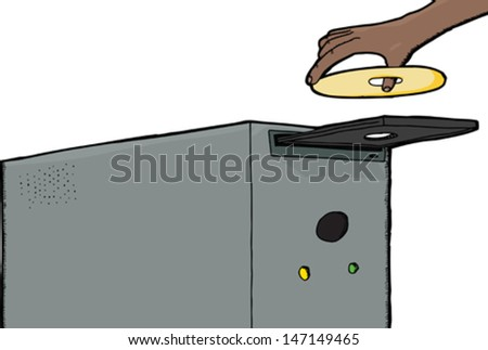 Human hand inserting CD into computer over white background - stock vector