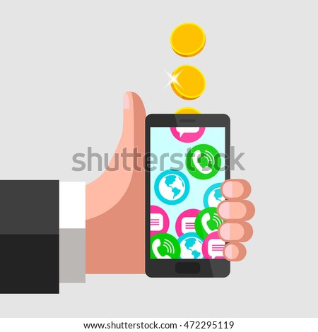 Human hand is keeping mobile phone and giving a thumbs-up at the same time. Gold coins fall into mobile phone, turning into calls, sms and internet access.