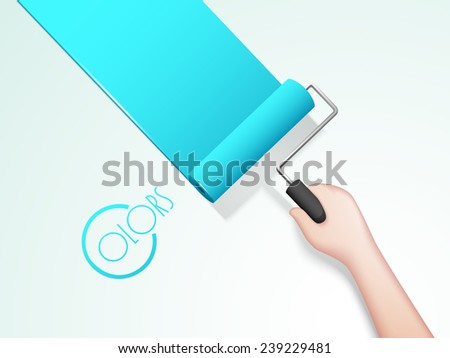 Human hand painting wall with paint roller brush and stylish text of Colors. - stock vector