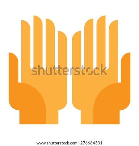 human hand, palm up, something or keep guard - stock vector