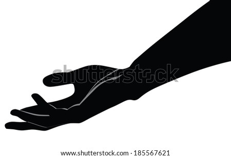 Human hand palm up. Vector illustration for a basic design. - stock vector
