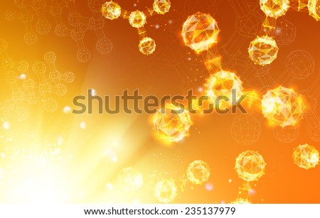 Human hand pionting in to the atoms molecules. - stock vector