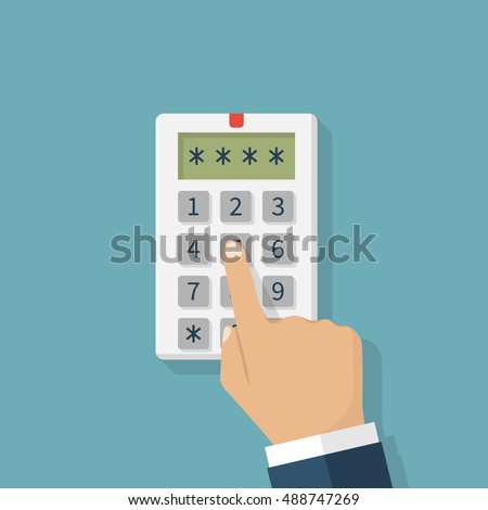 Human hand presses on the button, entering security system code. Combination  PIN code on keypad. Password house alarm. Digital combination lock wall. Vector illustration flat design.