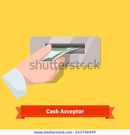 Human hand putting dollar banknote to a cash validator. Flat style vector icon.  - stock vector
