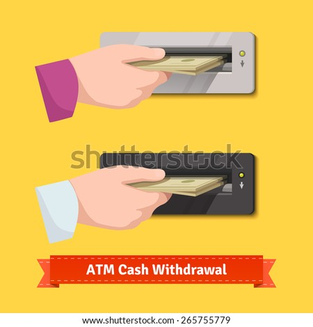 Human hand putting stack of dollar banknotes to a ATM cash validator. Flat style vector illustration. - stock vector