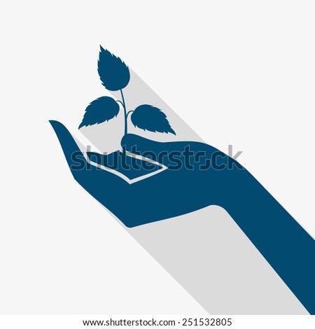 Human hand silhouette holding plant sprout flat long shadow vector illustration - stock vector