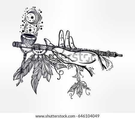 tattoo smoking pipe stock images royalty free images vectors shutterstock. Black Bedroom Furniture Sets. Home Design Ideas