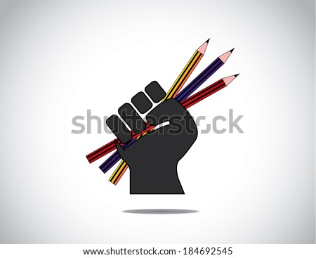 human hand strongly holding colorful pencils - basic education or study or schooling concept. - stock vector