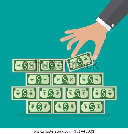 Human hand takes money from cash stacks. Vector illustration in flat design on green background, Financials, work motivation  - stock vector