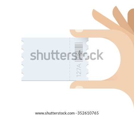 Human hand taking ticket with copy space for your text. Concept - Cinema, Transport, Event, Concert, Exhibition, Presentation, Seminar, Bus or Subway ticket. - stock vector