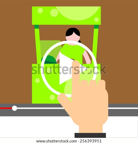 Human hand touching tablet computer with video player button. Watching online video tutorial - stock vector