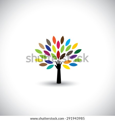 human hand & tree icon with colorful leaves - eco concept vector. This graphic also represents environmental protection, nature conservation, eco friendly, renewable, sustainability, nature loving - stock vector
