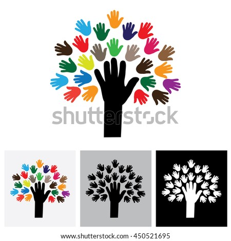 human hand & tree icon with colorful palms - concept vector icon. This graphic also represents empathy, human connections, people community, unity and togetherness, united people, care and help - stock vector