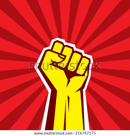 Human hand Up Proletarian Revolution - Vector Illustration Concept in Soviet Union Agitation Style. Fist of revolution. Red background. Design element.  - stock vector