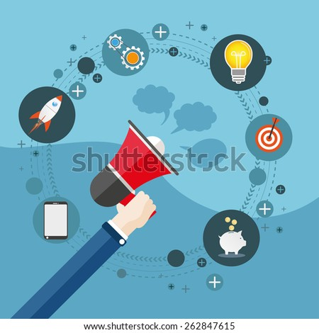 Human hand with a bullhorn and speech bubbles. Eps 10 vector file. - stock vector
