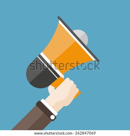 Human hand with a bullhorn. Eps 10 vector file. - stock vector