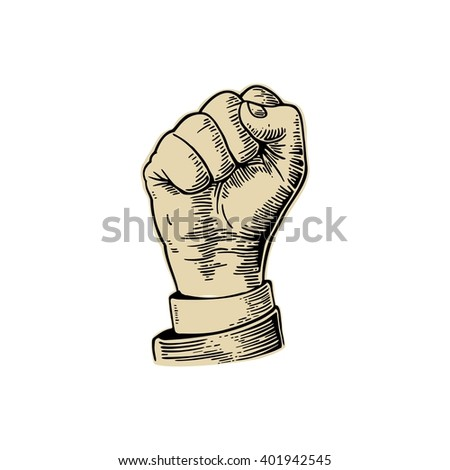 Human hand with a clenched fist. Vector black vintage engraved illustration isolated on a white background. Hand sign for web, poster, info graphic - stock vector