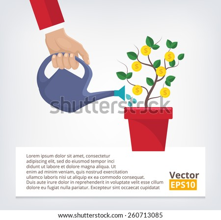 Human hand with can watering money tree. Creative vector illustration. Isolated on trendy gradient background. - stock vector