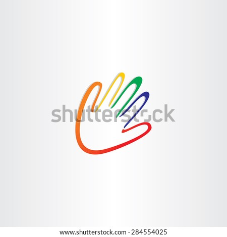 human hand with color fingers design