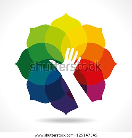 human hand with colorful background - stock vector