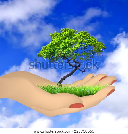 Human hand with grass, tree and sky - stock vector