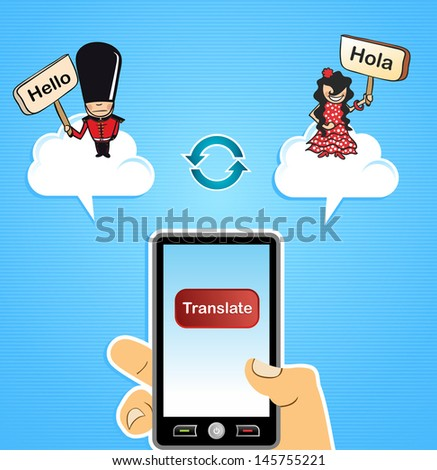 Human hand with mobile smart phone internet translation English to Spanish and vice versa app background. Vector illustration layered for easy editing. - stock vector