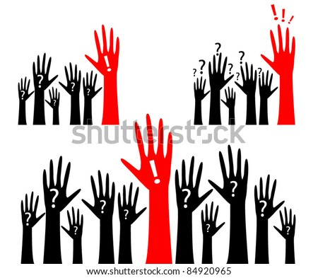 Human hand with question marks and red hand with an exclamation point - the concept of an answer to a question - stock vector