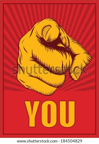 Human hand with the finger pointing or gesturing towards you - stock vector