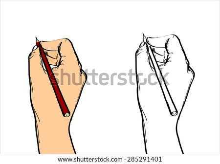 Human Hand Writing Vector Sketch - stock vector