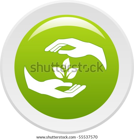 Human hands caring of a plant. Vector icon