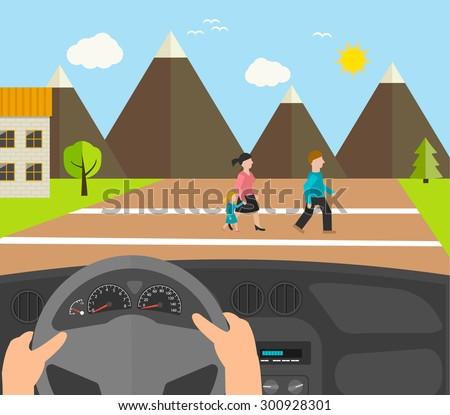 Human hands driving a car, vector illustration. Driver stops car on crosswalk. People crossing road. - stock vector