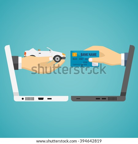 Human hands from laptop exchanging credit card and car on the blue background.
