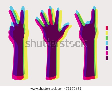 human hands:hands up ,palm hands,rock on sign - stock vector