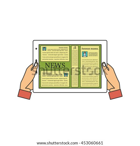 Human Hands Holding a Tablet Computer with News. Vector Illustration.